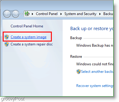Windows 7 : Create a system image link