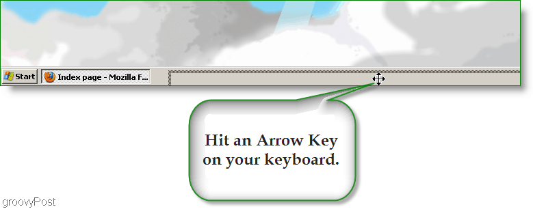 Windows XP Screenshot - Hit Arrow Key to find lost window