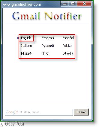 GMail Notifier Language Menu