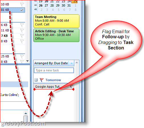 Outlook 2007 To-Do Bar - Drag Email to Create Task