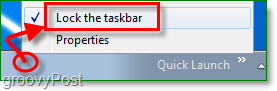 Unlock the taskbar in windows 7