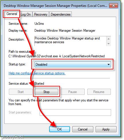 properties for windows desktop management service