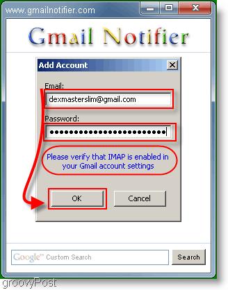 GMail Notifier Login Menu