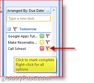 Outlook 2007 To-Do Bar - Click Task Flag to Mark Complete
