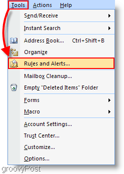 Outlook 2007 - Create Outlook rule and alerts