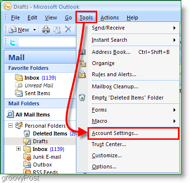 Outlook 2007 Calendar Screenshot - Account Settings