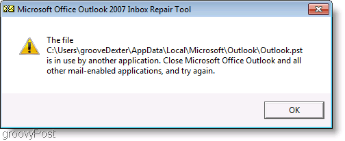 Screenshot - Outlook 2007 ScanPST Repair Message Window