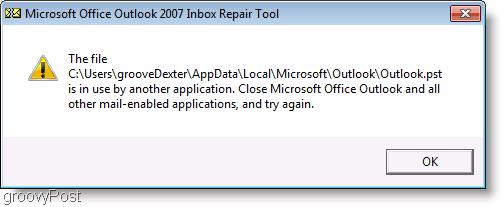 Screenshot - Outlook 2007 ScanPST Repair Message Window