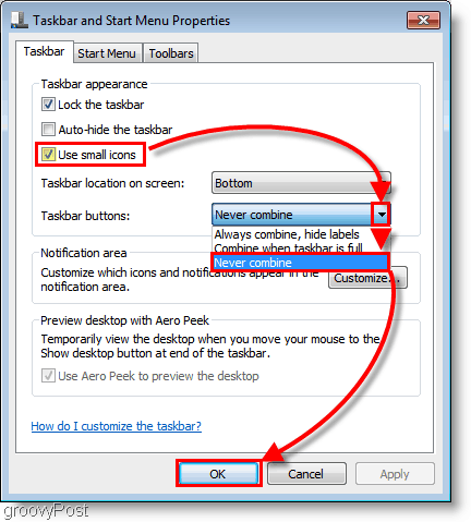 Windows 7 customize the Taskbar