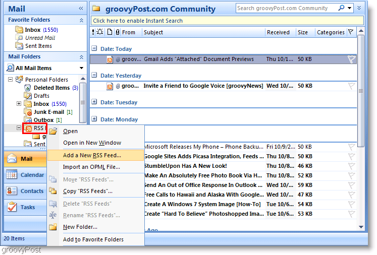 Screenshot Microsoft Outlook 2007 Add new RSS Feed