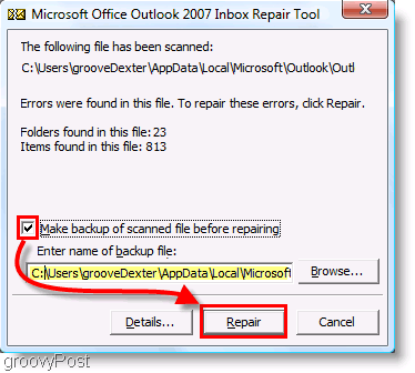 Screenshot - Outlook 2007 ScanPST Repair Menu