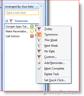 Outlook 2007 To-Do Bar - Right-Click Flag for Options Menu
