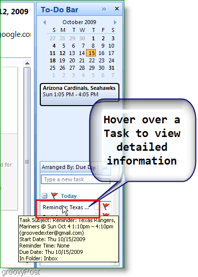 Outlook 2007 To-Do Bar - Hover over item for more details