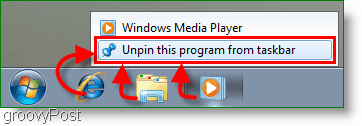 Windows 7 Unpin a program from the Taskbar Screenshot