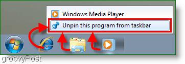Windows 7 Unpin a program from the Taskbar Screenshot