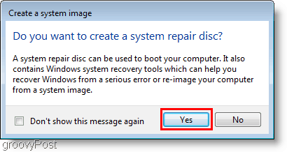 Windows 7 : Create a system image