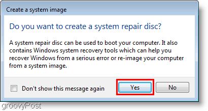 Windows 7 : Create a system image