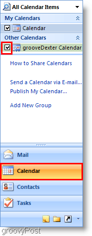 Outlook 2007 Calendar Screenshot - Add 2nd Calendar