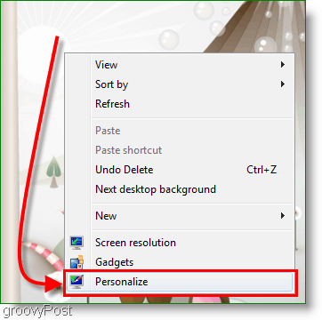 Windows 7 Personalize Screenshot
