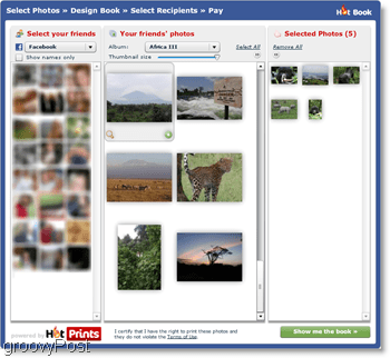 HotPrints lets you choose from your own uploaded photos or those from friends on Facebook
