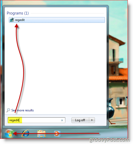 Windows 7 Screenshot of opening the registry