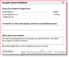 Google Voice Invitation Screenshot
