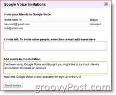 Google Voice Invitation Screenshot