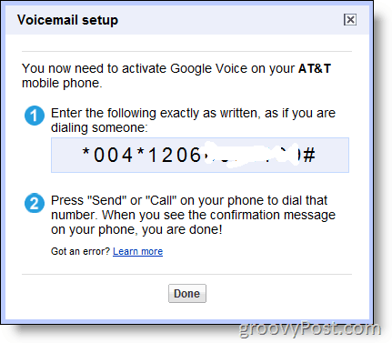 Screenshot - Enable Google Voice on non-google number at&t
