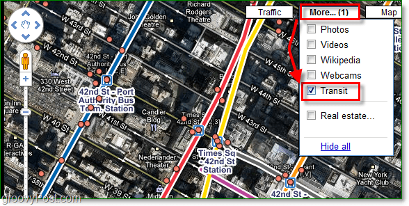 click the more menu and enable transit checkmark in google maps