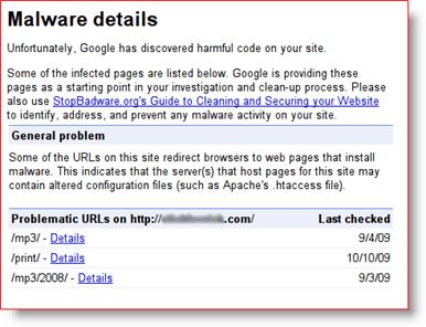 Google Webmaster Tools Malware Details