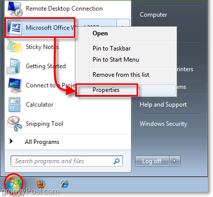 how to access the shortcut properties for a windows 7 shortcut