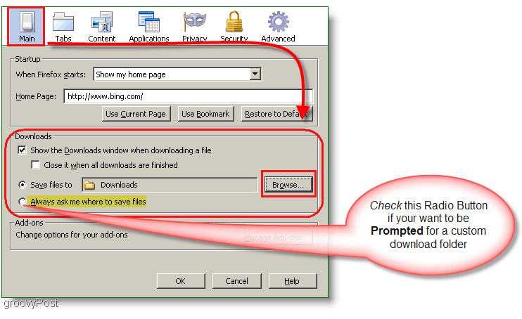 Screenshot : How-to change Firefox download behavior default location