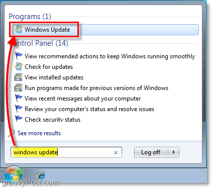 Launch Windows 7 Windows Update : Screenshot