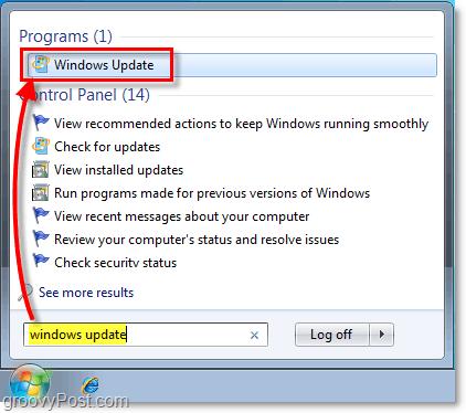 Launch Windows 7 Windows Update : Screenshot