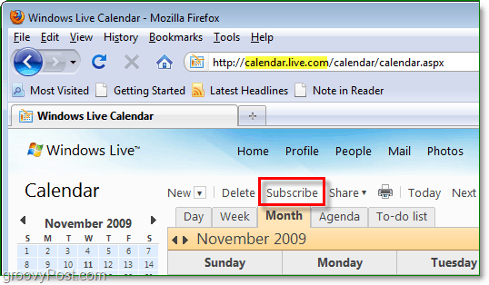subscribe in windows live calendar to google or another calendar