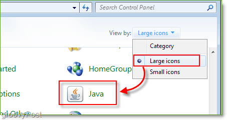 Screenshot: Windows 7 Control Panel Launch Java