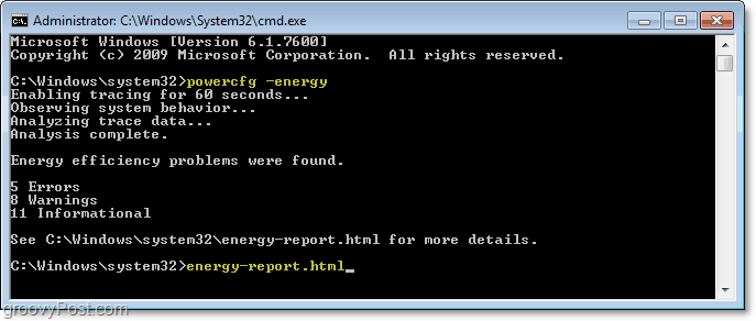 use powercfg -energy command to run a diagnostic report on energy efficiency in windows 7