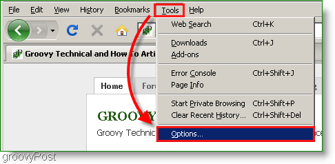 Screenshot : Firefox Tools, Options Menu
