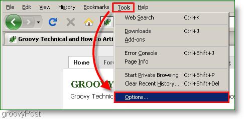 Screenshot : Firefox Tools, Options Menu