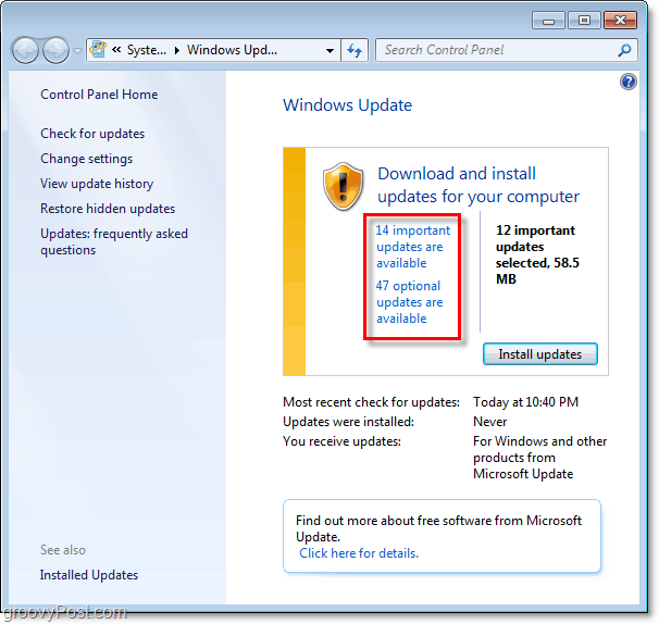 Windows 7 - Windows Update Page Screenshot