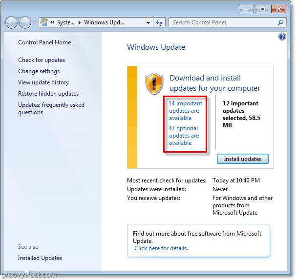Windows 7 - Windows Update Page Screenshot