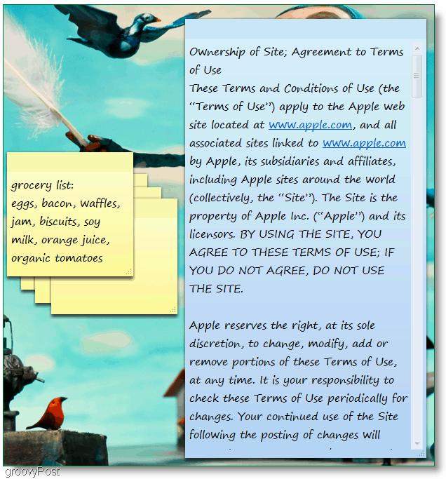 Windows 7 Sticky Notes : Screenshot