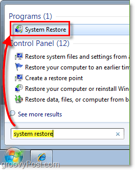 How to access Winodws 7 system restore from the start menu