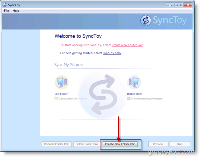 Microsoft SyncToy Create new Folder Pair Screenshot