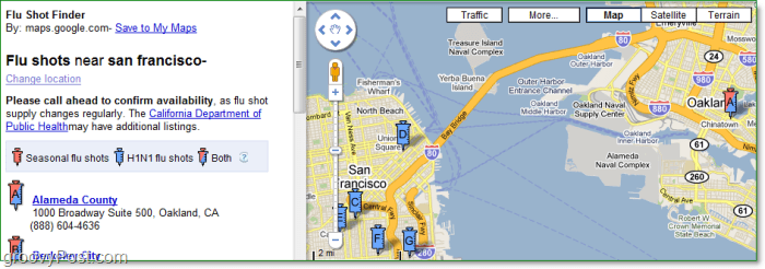 a preview of the google flu shot finder looking for clinics in san francisco