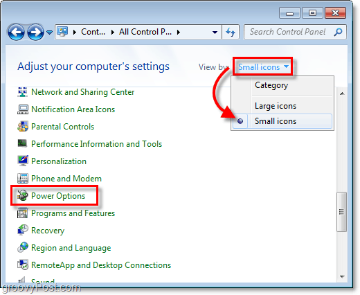 change the windows 7 control panel to view by small icons then click the power options button