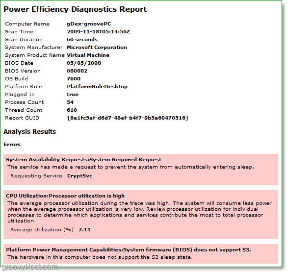 view the power diagnostic report for power efficiency in windows 7