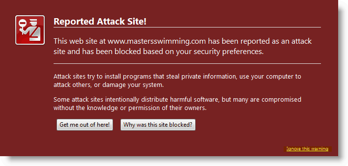 Firefox Alert - Reported Attack Site Detected