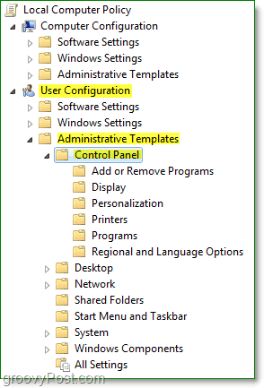 navigate to the windows 7 local computer policy > user configuration > administrative templates > control panel