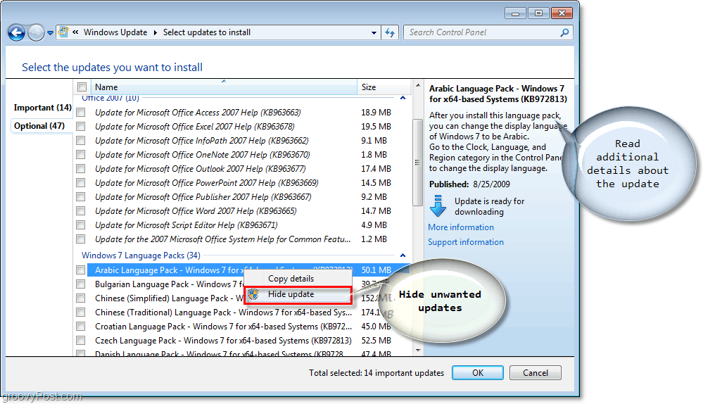 Windows 7 - Windows Update Available Updates Check Boxes Screenshot